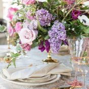 Ultra Violet Wedding Flowers with Glam Gold Decor