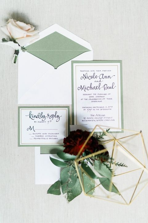 Green and Gold Geometric Wedding Invitations