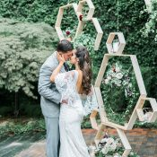 Hanging Geometric Ceremony Backdrop with Botanical Greenery