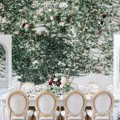 Living Ivy Wall Wedding Reception with Hanging Floral Decor