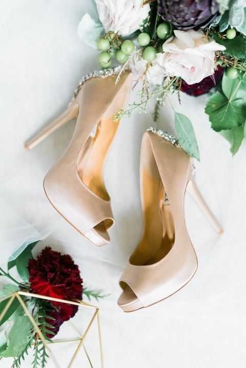 Nude Peep Toe Wedding Shoes