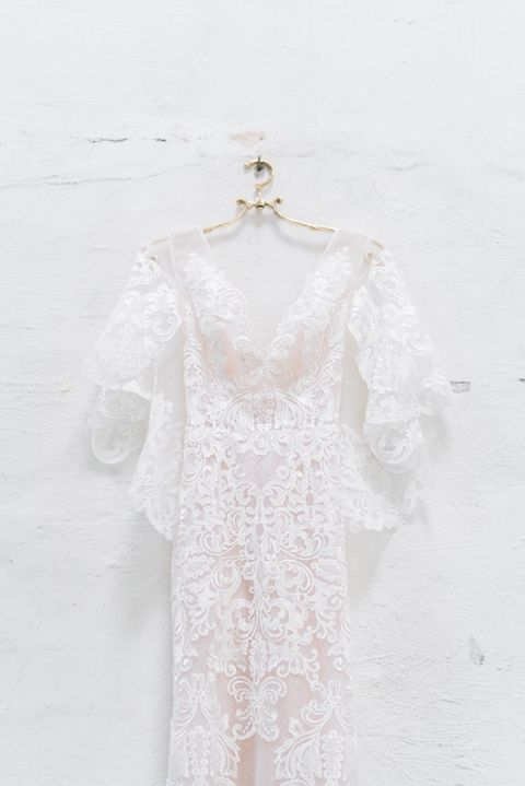Blush Lace Flutter Sleeve Wedding Dress