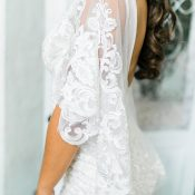 Bohemian Glam Open Back Wedding Dress with Flutter Sleeves
