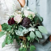 Modern Bohemian Wedding Bouquet with Greenery and Botanical Flowers