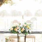 Rustic Vintage Sweetheart Table with Spring Flowers