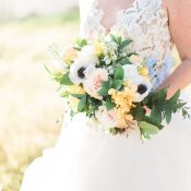 Peach, Yellow, and Blue Rustic Bridal Bouquet