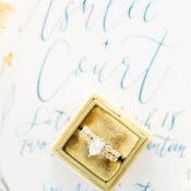 Vintage Engagement Ring and Diamond Band in a Gold Velvet Box