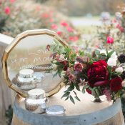 Wine Barrel Memory Table with a Vintage Mirror Sign