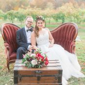 Vintage Velvet Settee for a Cozy Fall Winery Wedding