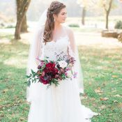 Lace Trimmed Veil and a Burgundy Bouquet for the Perfect Winery Wedding Style