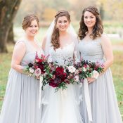 Gray Bridesmaid Dresses and Fall Berry Bouquets