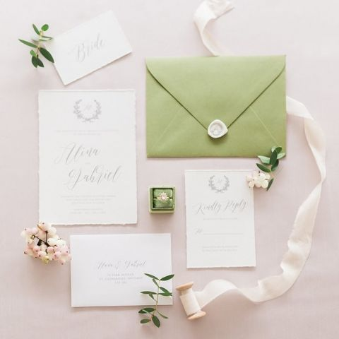 Spring Green Wedding Invitation Suite