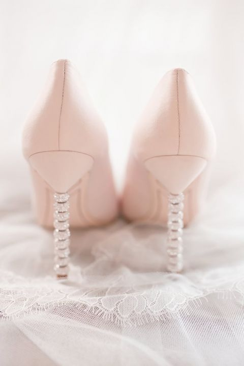 Crystal Stacked Heels for Blush Wedding Shoes