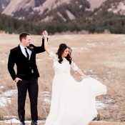 Bride and Groom Dancing in a Mountain Meadow