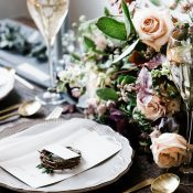 Intimate Nature Inspired Wedding Reception Table with Metallics and Soft Flowers