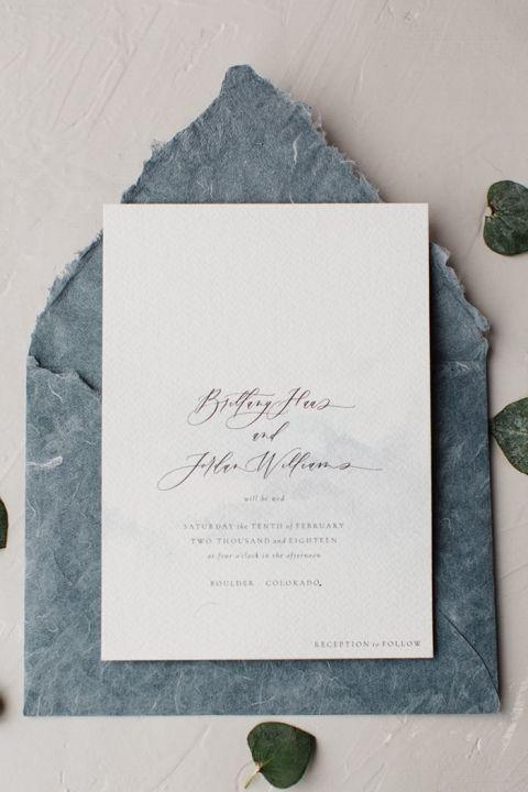 Handmade Paper Wedding Invitations in Slate Blue