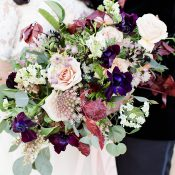 Purple, Blue, and Burgundy Jewel Tone Bridal Bouquet for a Winter Wedding