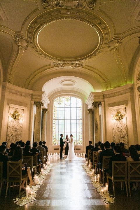 Candles And Rose Petals For A Dramatic Glamorous Wedding Ceremony In Paris