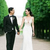 Silk and Lace Trumpet Wedding Dress for a Glamorous Destination Wedding in Paris