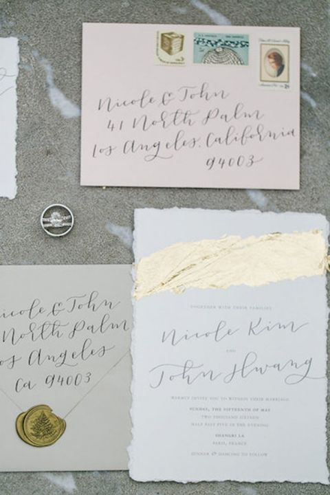 Gold Leaf and Calligraphy Invitations for a Luxury Destination Wedding