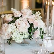 Pink and Gold Wedding Decor with a Blush Floral Centerpiece
