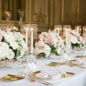 Opulent Gold and Pink Wedding Tablescape by Candlelight