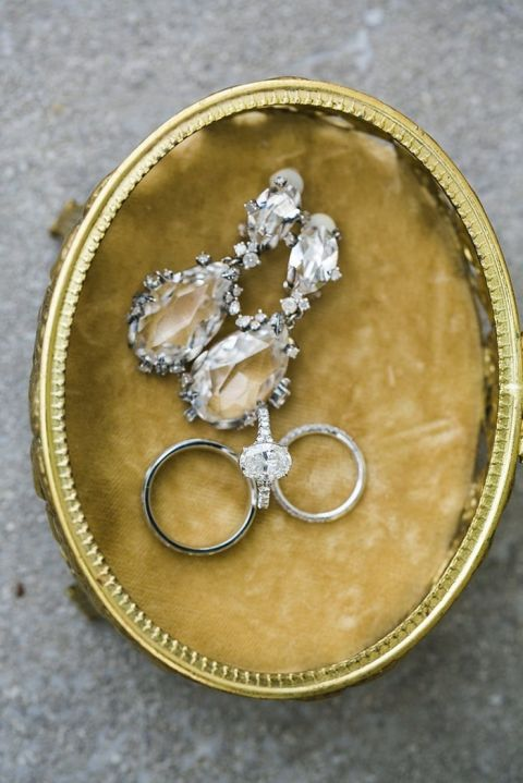 Gold and Diamond Wedding Jewelry and an Oval Engagement Ring