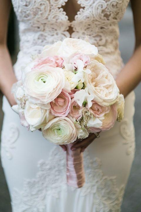 Blush and White Bouquet for a Luxury Destination Wedding in Paris