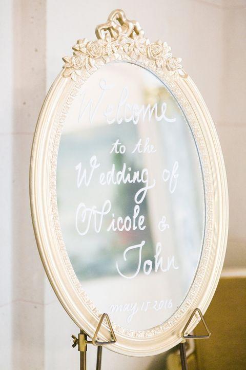 Vintage Gold Mirror Sign for a Glamorous Destination Wedding in Paris