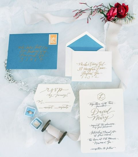 Hand Lettered Blue and Gold Calligraphy Invitations for a Barn Wedding