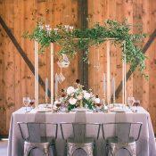 Modern Bohemian Barn Wedding Reception with Geometric Hanging Decor