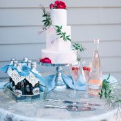 Blue and Fuchsia Pink Wedding Cake Table