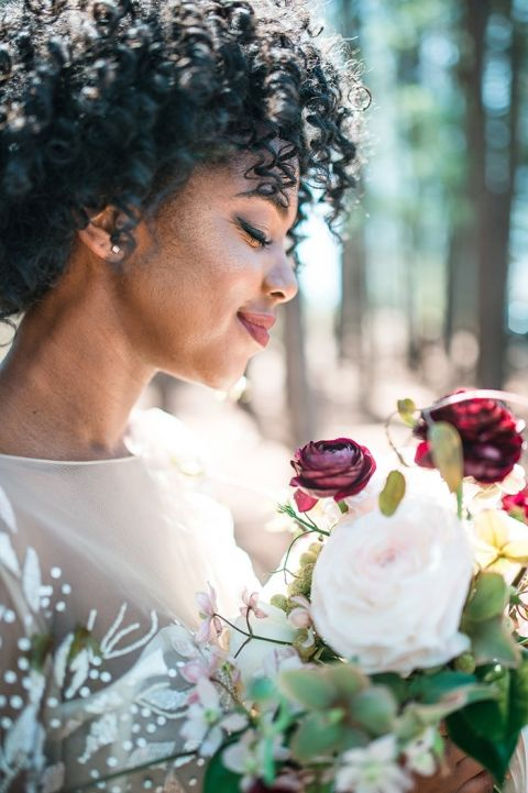 Burgundy Bridal Makeup with Natural Hair