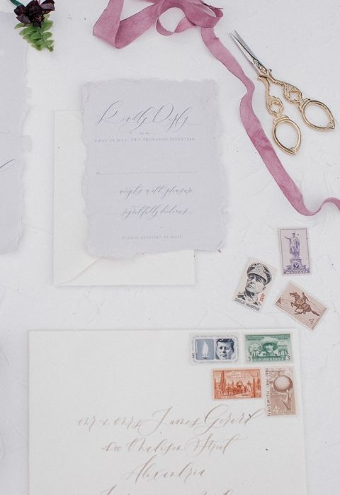 Vintage Stamps for an Heirloom Wedding Invitation Suite