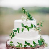 Summer Greenery for a Buttercream Wedding Cake and a Vintage Pink Glass Stand