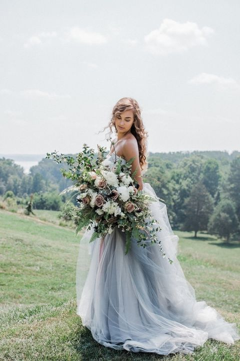 Dusty Blue and Antique Pink Wedding Inspiration with a Colorful Wedding Dress