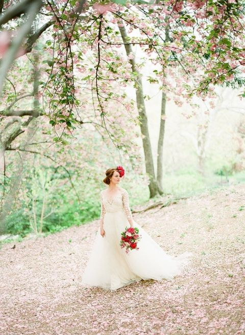 Cherry Blossom Bridal Portraits with Vintage Style