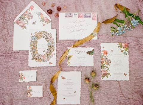 Vintage Floral Inspired Wedding Invitation