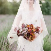 Dreamy Film Bridal Photos with a Plum and Bronze Bouquet