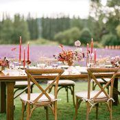 Rustic Farm Table Reception for a Lavender Farm Wedding