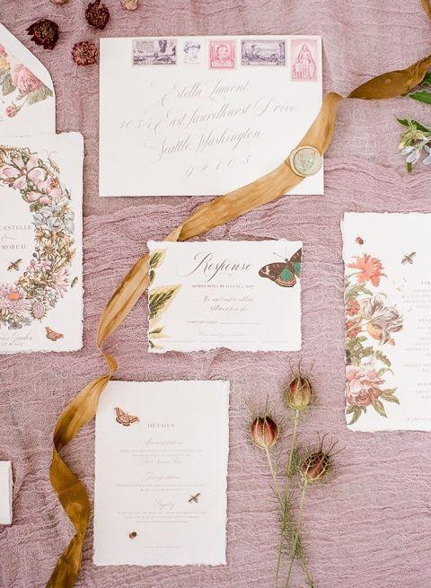 Lavender Farm Floral Wedding Invitations