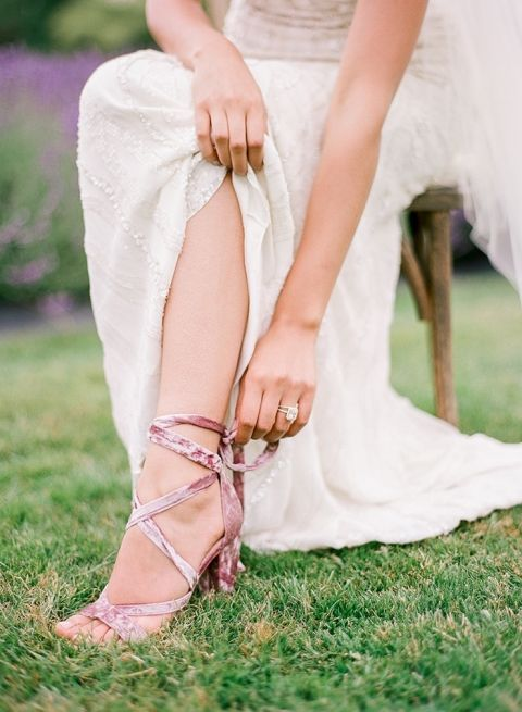 Mauve Velvet Wedding Heels