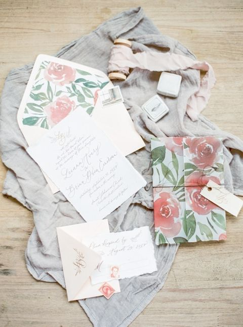 Coral and Gray Wedding Invitation Suite with Watercolor Flowers