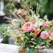 Coral and Greenery Summer Flower Arrangement