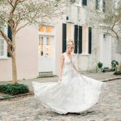 Bride Twirling in a Gray Watercolor Wedding Dress
