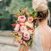 Whimsical Summer Coral Bridal Bouquet