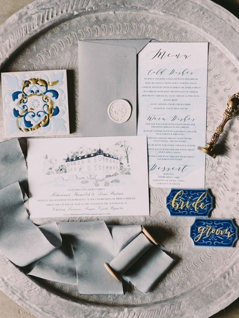 Blue and Gold Decor for a Fairy Tale Destination Wedding