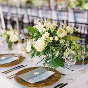 Woven Chargers with Fresh Greenery Centerpieces