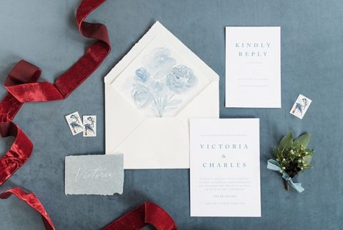 Warm Winter Hues for a French Blue and Crimson Red Invitation Suite