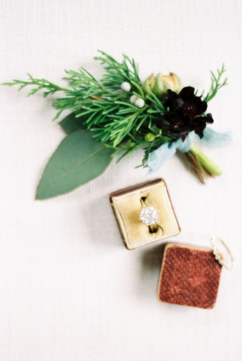 Solitaire Engagement Ring with a Winter Greenery Boutonniere